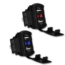 12-30 В 4.2a Dual USB Автомобильное Зарядное устройство Адаптеры Питания Гнездо USB Зарядное устройство Водонепроницаемый LED вольтметр Адаптеры питания для Грузовик Мотоцикл