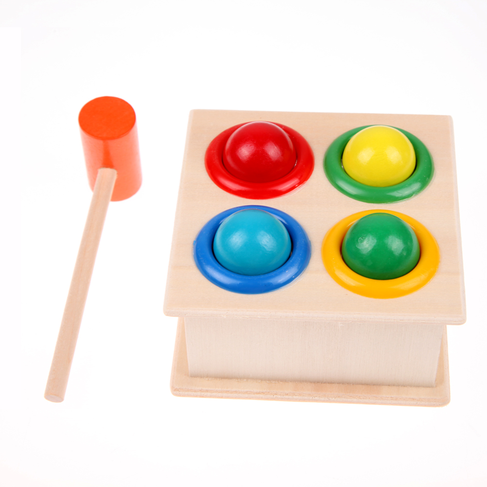 New Colorful Hammering Wooden Ball+Wooden Hammer Box Toys Gift For Children Early Learning Educational Developing