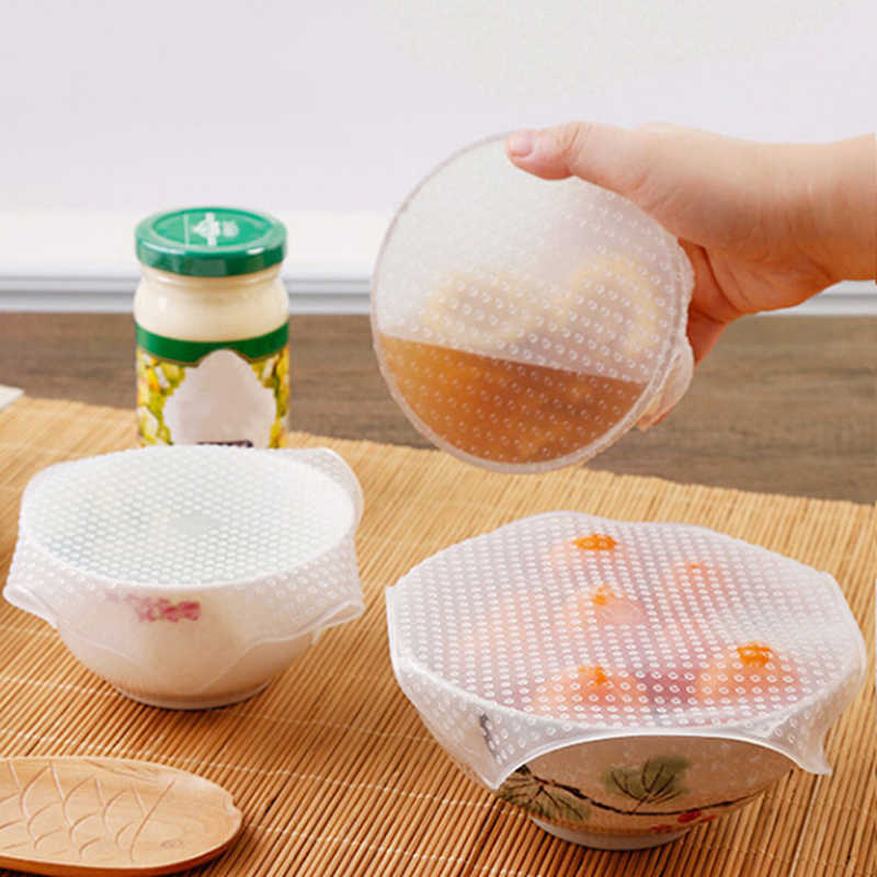 Película adhesiva de silicona sellada cubierta de alimentos frescos envolver cocina estiramiento fresco mantener la tapa del contenedor Saran herramienta de envoltura 3 tamaños