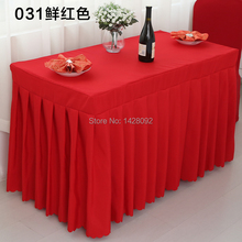 red plain polyester skirting cover can do customized size