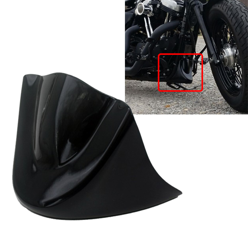 ФОТО Gloss Black Motorcycle Lower Front Chin Spoiler Air Dam Fairing Cover For Harley 06-Up Dyna Models