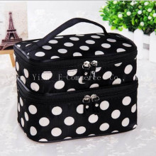 50pcs Women Double Layer Polka Dot Cosmetic Bags  Multifunction Portable High Capacity Waterproof Non-woven Storage Makeup Tools