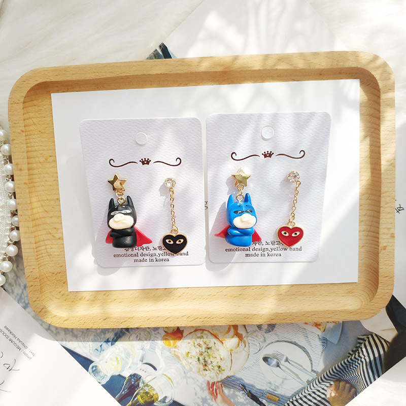 Korea Handmade Cute Cartoon Batman pig Heart Asymmerty Women Drop Earrings Dangle Earrings Fashion Jewelry-JQD5