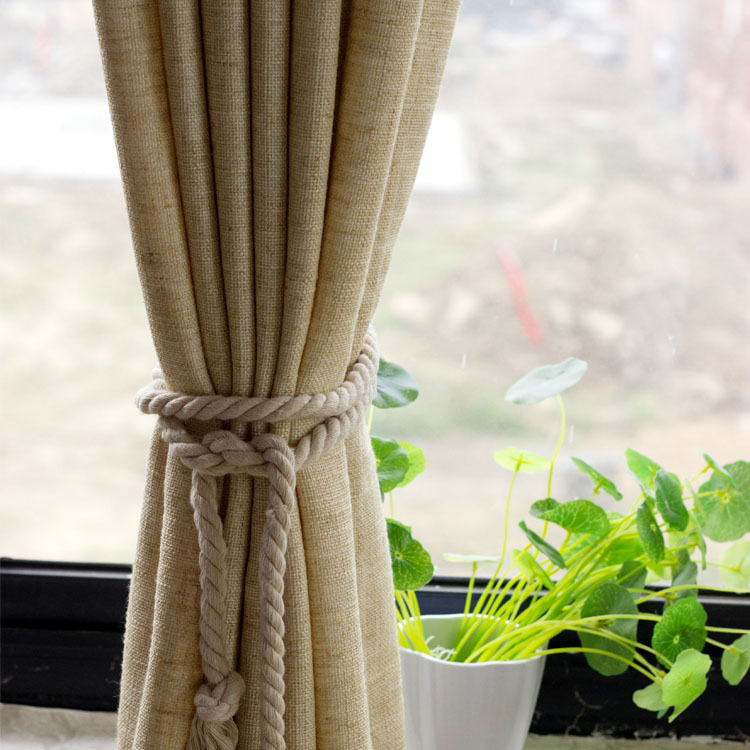 Quality Solid Color Thickening Linen Modern Brief Natural Fluid Hemp Curtain