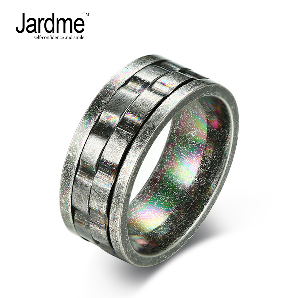 Jardem Vintage Distress Stainless Steel Mens Rings Special Surface Process Boyfriend Gift Engagement Ring 9mm U084
