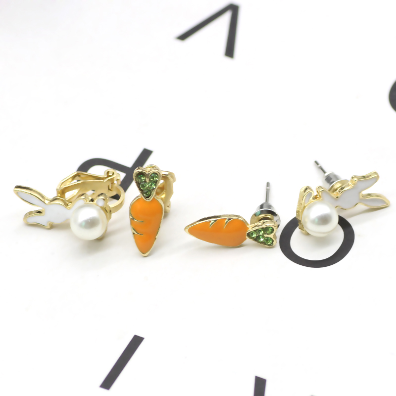 Fashion Creative Pearl Bunny Earrings Cute Beautiful Girl Child Cartoon Animal Christmas Ornaments Gifts