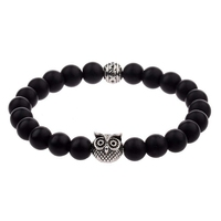 New Arrive Silver Plated Charm Men Owl Beads Natural Stone Bracelet Pulseiras Masculinas Top Quality Bracelet Free Shipping