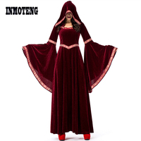 INMOTENG Mantle Hooded Cloak Coat Wicca Robe Medieval Cape Shawl Halloween Cosplay Party Witch Wizard Costumes