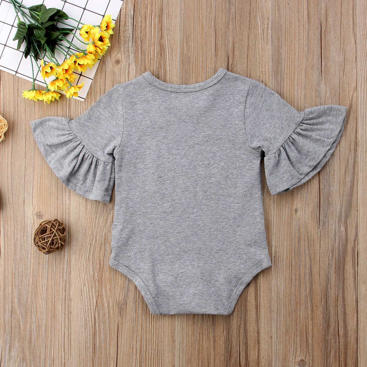 3 Color Newborn Infant Baby Girl Clothes Flared Sleeve Romper Brife Jumpsuit Sunsuit Outfits