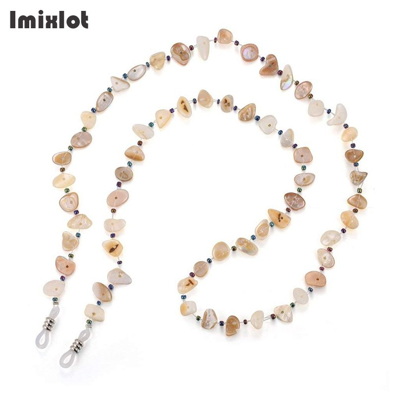 2 Colors Fashion Shell Beaded Eyeglass Chains Anti-slip Sunglasses Reading Glasses Chain Eyewears Cord Holder Neck Strap Rope
