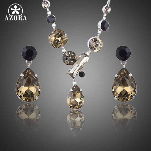 AZORA Fashion Jewelry Sets For Women Inlcuding 1 Pair Top grade CZ Water Drop Earrings and 1pcs Chain Pendant Necklace TG0195 pair of chic rhinestoned water drop earrings for women