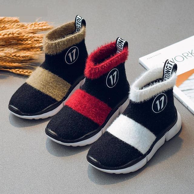 أحذية أطفال طويلة الرقبة الثلوج الفتيات طفل أحذية الأطفال أحذية للبنات طفل أحذية مضادة للماء شتاء دافئ القطن جورب الأحذية ل Girs شقة