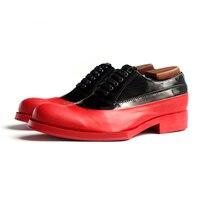 Красные кожаные туфли мужские геометрический подошва официальный Оксфорд Обувь красный коровьей пояс мужчин Обувь
