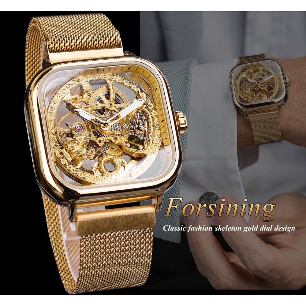 Forsining Men Mechanical Watches Automatic Self Wind Golden Transparent Fashion Mesh Steel Wristwatch Skeleton Man Male Forsining Men Mechanical Watches Automatic Self-Wind Golden Transparent Fashion Mesh Steel Wristwatch Skeleton Man Male Hot Hour