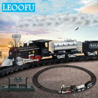 LEOOFU birthday gift 2 style electric toy trains and railways set for kid classical train hipping Automatic and trains children