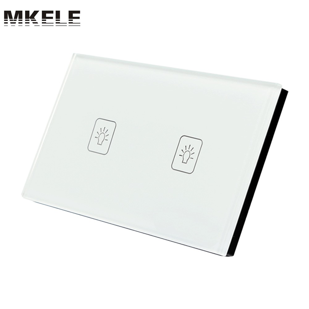 US Standard Touch Switch 2 Gang 2 Way White Crystal Glass panel,Light Switch ,Touch Screen wall switch,wall socket for lamp free shipping us au standard touch switch 2 gang 1 way control crystal glass panel wall light switch kt002us