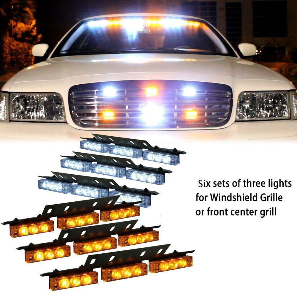 54 LED WHITE AMBER YELLOW 6X 9LED EMERGENCY WARNING TRUCK CAR SUV STROBE FLASH LIGHT 54 led white amber yellow emergency warning truck car suv strobe flash 54led light