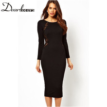 Dear lover Spring 2017 White Black Long Sleeves Sexy women Lace Inset office dress Elegant Midi pencil dresses plus size LC6456