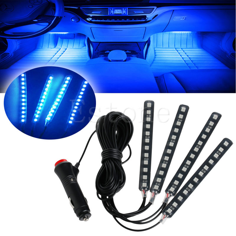 Blue 4x12led Car Suv Interior Light Atmosphere Decorative Light Neon Lamp Strips In Signal Lamp