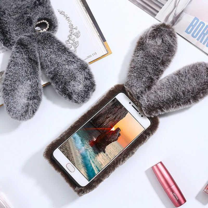 Per iPhone Caso di 7 3D Carino Coniglio Peloso Pelliccia Caldo del Rhinestone di Bling Coniglietto di Peluche Copertura Custodie per il iPhone XS Max X 8 7 6 6S Plus 5 5S