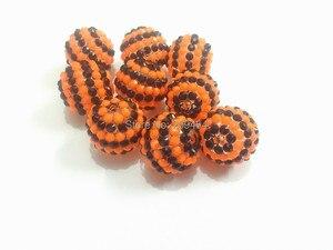 Image 2 - Mais novo!! 20mm 100 pçs/lote nova listra preto com listra laranja resina strass bola contas, grânulos grossos para crianças jóias fazendo