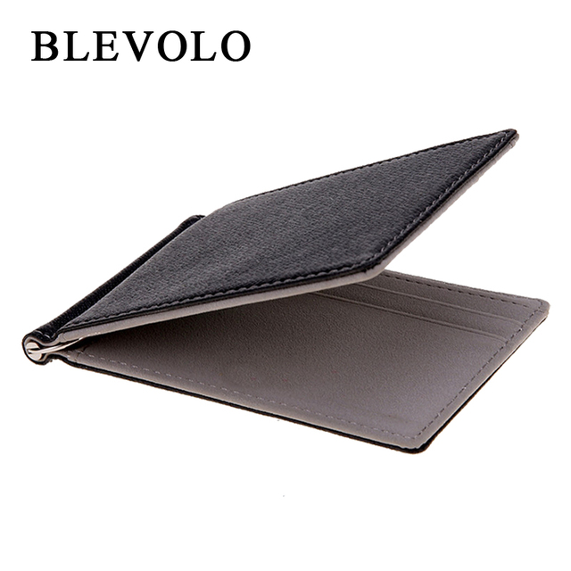 Men Wallet Short Skin Wallets Purses PU Leather Money Clips Sollid Thin Wallet