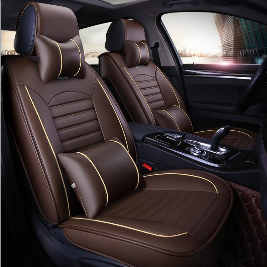 À prova dwaterproof água tampas de assento de carro universal couro do plutônio auto almofada do assento da frente protetor esteira caber a maioria dos acessórios do carro interior - 2