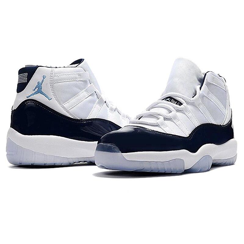 cheap for discount 500a3 0be17 ... reduced nike air jordan 11 retro aj11 mens basketball shoes white dark  blue shock absorption wear
