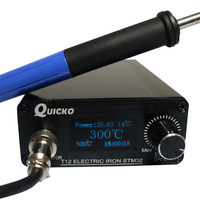 QUICKO STM32 OLED 1.3inch T12 Soldering Station With Russian Korean English Chinese language 6C 9501 handle Soldering Iron Tips