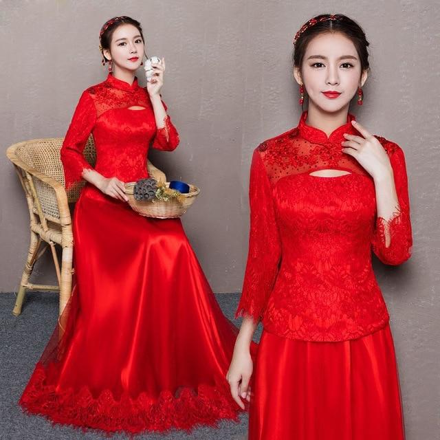 Cerimonia Nuziale Della Sposa rosso Moderno Qipao Vestito Cinese Del  Merletto di Stile Orientale Cheongsam Manica 9ae94ef0569