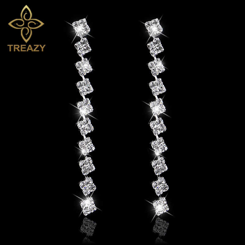 TREAZY Squares Shape Bridal Long Earrings Diamante Silver Color Rhinestone Crystal Dangle Earrings For Women Wedding Accessories