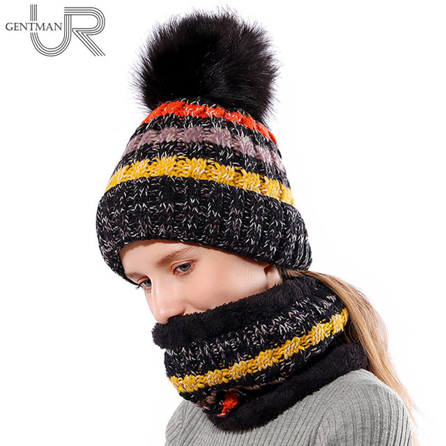 497c30f5dee New Women Warm Winter Hat Add Fur Lined Soft Beanie Neck Warmer Scarf Thick  Striped Color