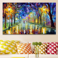 Wall Art Home Decor Handpainted Lover Rain Street Landscape Canvas Oil Painting Wall Pictures Tree Lamp picture for Living Room