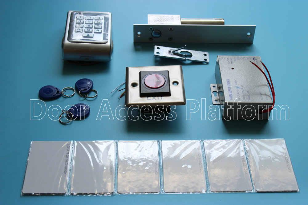 Outdoor + Full metal case off-line reader toegangscontrole 125 KHz id-kaart keytag + Pin code machine met elec bolt lock, voeding