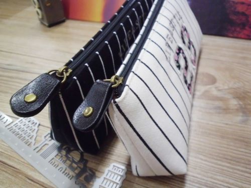 Retro Stripe Pencil Pen Case Cosmetic Pouch Pocket Brush Holder Makeup Bags Life Style Pencil Bag Pen Box retro stripe pencil pen case cosmetic pouch pocket brush holder makeup bags life style pencil bag pen box