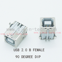 Free shipping 10pcs/lot USB 2.0 jack Btype USB connector female 90degree DIP