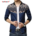 2015 Slim Fit Moda Patchwork Floral Mens Jaquetas E Casacos Homens Jaqueta de Inverno Jaqueta Casaco Masculino Veste Homme