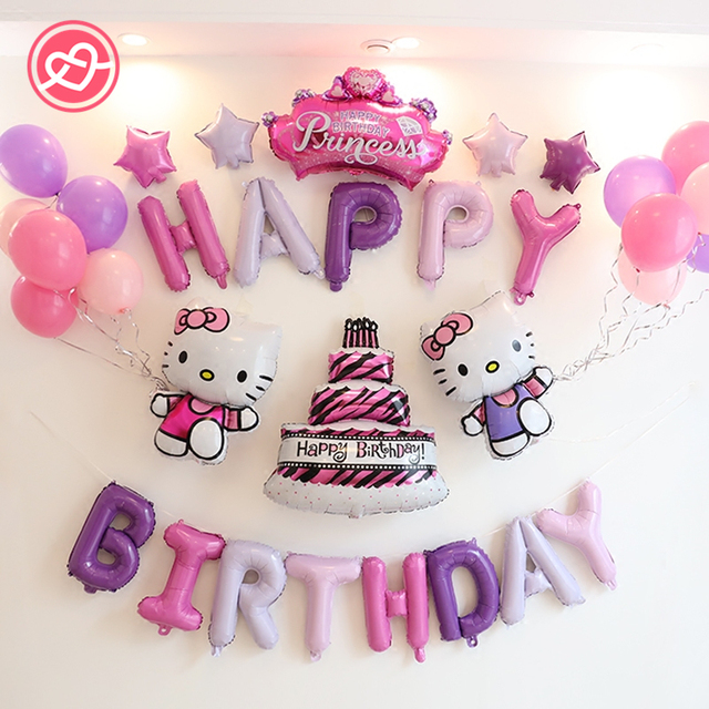 31pcs Lot Hello Kitty Happy Birthday Balloons Suit Diamond Princess
