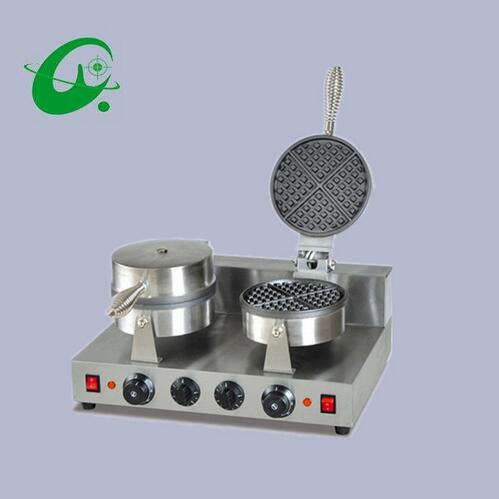 Double head Cone Baker Ice cream leather machine Non-Stick Cooking Surface Ice Cream Paper Roll Maker machine chinese single round pan rolled ice cream machine fried ice cream roll machine with 6 barrels
