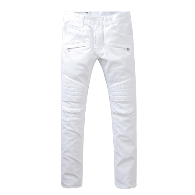 42a835aa07 Blanco mens skinny jeans 2017 moda mens jeans Delgado recto alta calidad  stretch skinny ripped biker