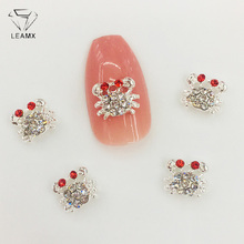 LEAMX 10Pcs Kawaii 3D Crab Nail Art Decorations Metal Crab Shape Rhinestones Nails Charms DIY Diamonds For Manicure Decor L491 цена