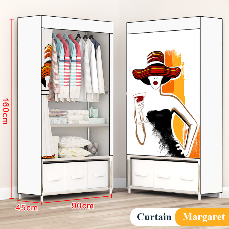 Fashion Painting Partable Wardrobe Reinforced Stainless Steel Stand Holder Minimalist Modern Bedroom Furniture Clothing Closet