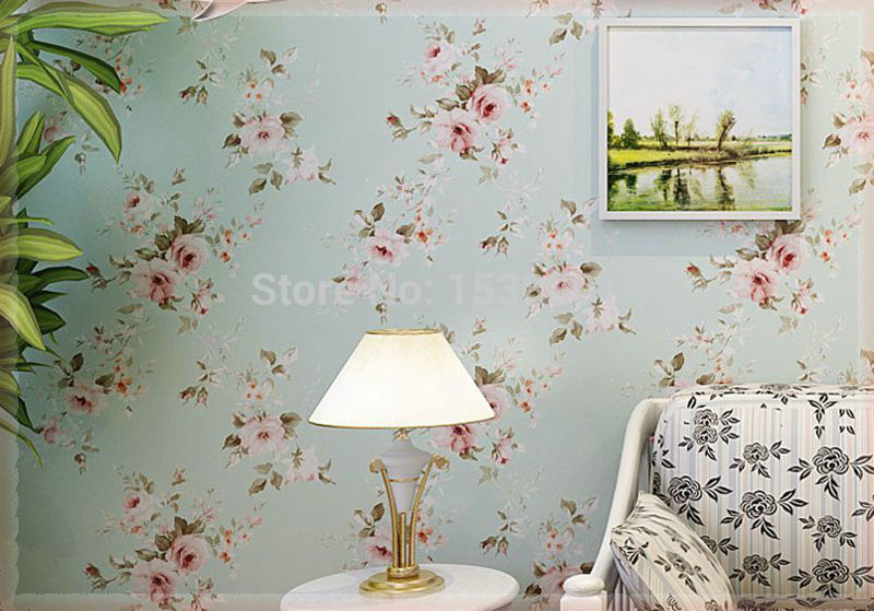 Vintage Romantic Victorian Rose Flower Floral Scroll Wallpaper Wall