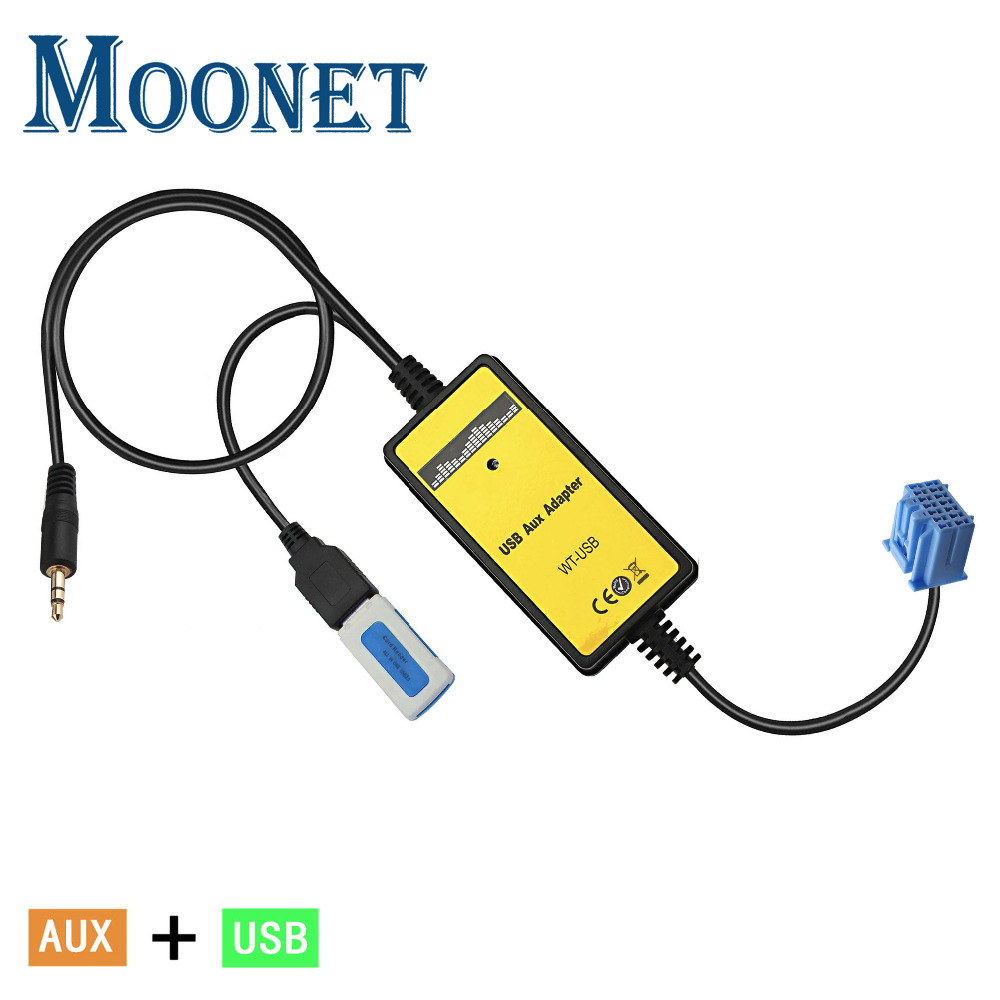 Moonet Car Aux and USB Adapter 3.5mm AUXiliary CD changer For 2.3 Accord 1998-02, Odyssey 1999-04, Civic 1998-05,CRV 1999-03