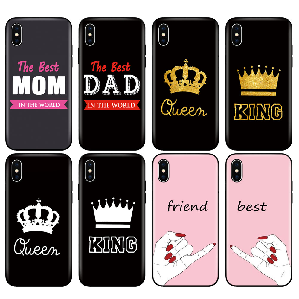 Black tpu case for iphone 5 5s se 6 6s 7 8 plus x 10 silicone cover for iphone XR XS 11 pro MAX best MOM DAD king queen friend image