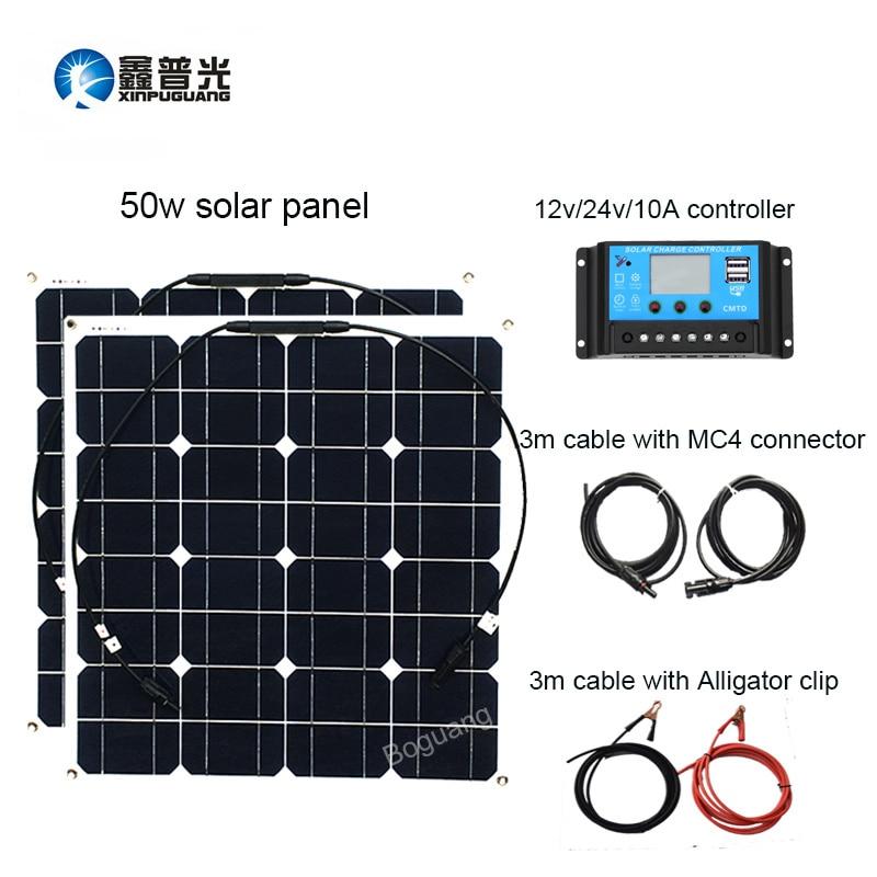 Xinpuguang 50 w panneau solaire 100 w Système Solaire Mono Cellulaire Module 12 v/24 v/10A Contrôleur Câble kit de bricolage Charge pour Cabine De Bateau De Pêche
