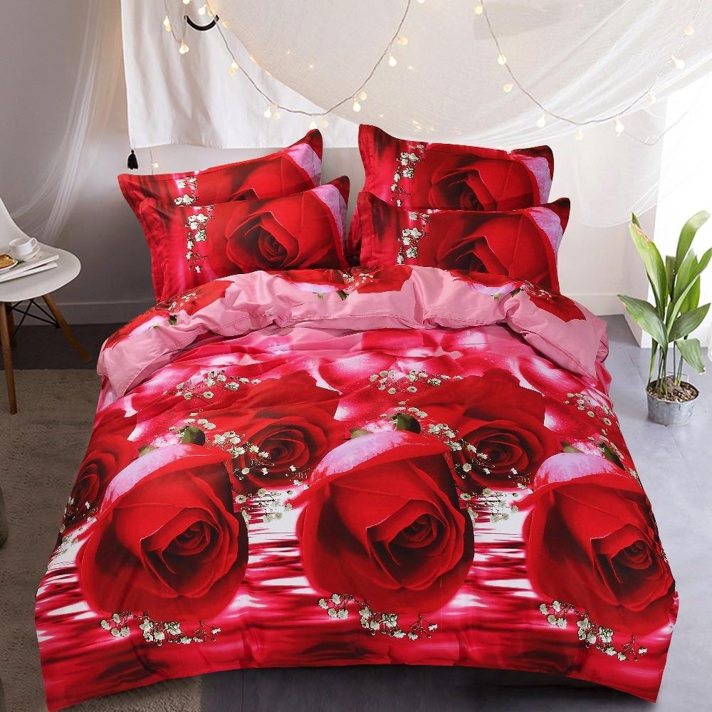 PAPA & MIMA 3D rouge Rose cadeau de mariage 4 pièces ensemble de literie luxe 100% coton drap de lit housse de couette ensemble taies d'oreiller