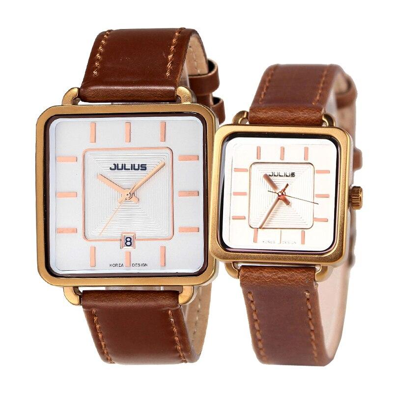 Julius Couple Hours Men's Watch Women's Watch Japan Quartz Fine Fashion Leather Clock Square Lovers' Valentine Gift