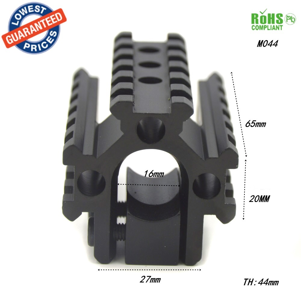 1 ST M044 Jacht Richtkijker Tri-Rail Op Vat van 20mm breiden scope bases Picatinny Weaver Rail Mount Base Voor Rifle Shotgun