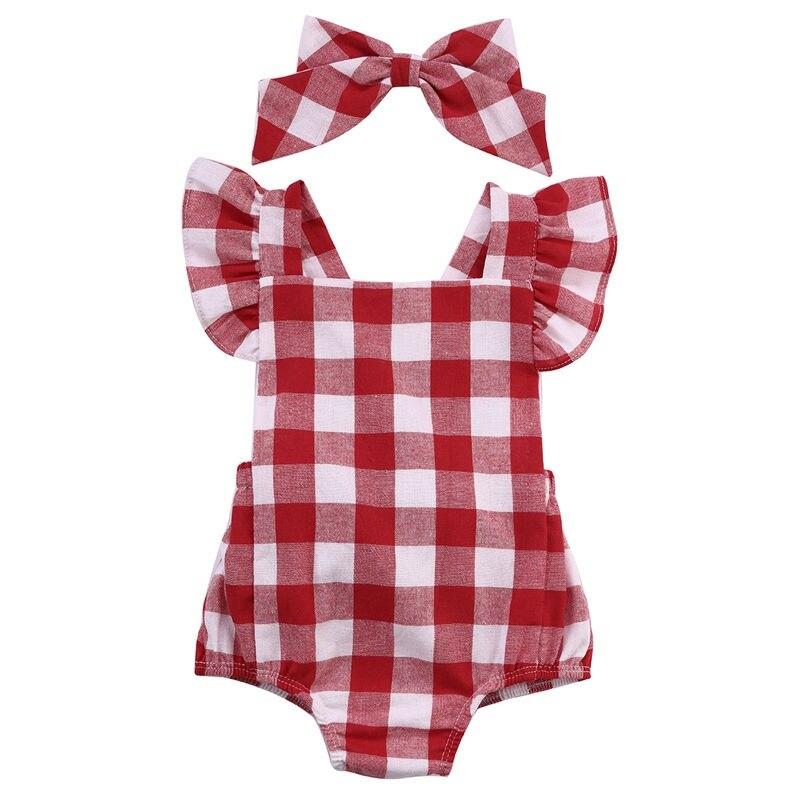WEIXINBUYNewborn младенческой Дети для маленьких девочек красный плед комбинезон с головной повязкой; одежда для детей 0-18 м